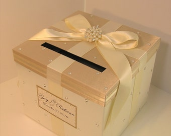 Wedding Card Box Champagne and Ivory Gift Card Box Money Box  Holder--Customize in your color/made to order (10x10x9)