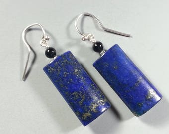 Dramatic Lapis Lazuli and Sterling Silver Earrings