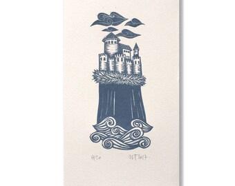 "Original linocut ""Castle"" / Hand-printed linocut ""Castle"""