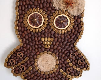 Coffee Bean Owl   Coffee Gift   Cute Owl   Cute Gift   Owl   House Decor   Coffee decor   Housewarming gift