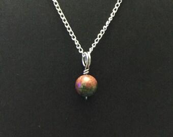 Tiny Unakite Charm Necklace