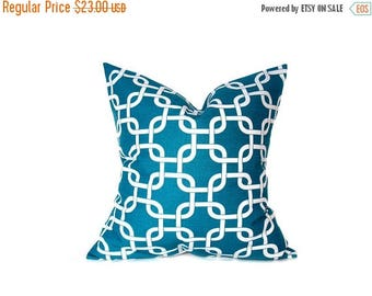 15% Off Sale Turquoise Pillow Decorative Pillow, Pillow covers ,Blue Pillow.ONE 24x24 inch Pillow. Euro Pillow. Euro Sham.Printed fabric bot