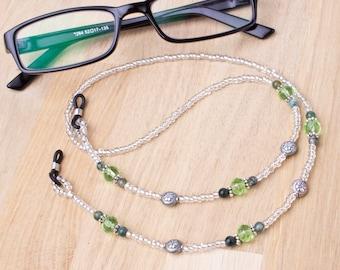 Gemstone eyeglass chain - Green moss agate bead glasses chain | spectacle holder | sunglasses cord | eyewear lanyard | ethnic glasses cord