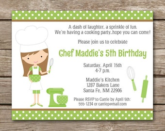 Kids Cooking Party Invitation, Cooking Invitation, Baking Party Invitation, Chef Invitation, Girls Cooking Party, Chef Invite, PRINTABLE