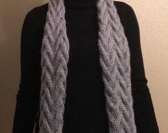 Icy Blue/Grey Cable Knit Scarf