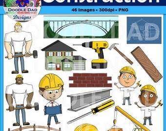 Construction Clip Art (Crane, Hammer, Blueprint, Worker, Foreman, House)