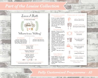 PRINTABLE Digital Files - Louise Collection - Fully Customised Wedding Program Programme - Two Sides A5 - Tandem Bicycle Bike - Itinerary