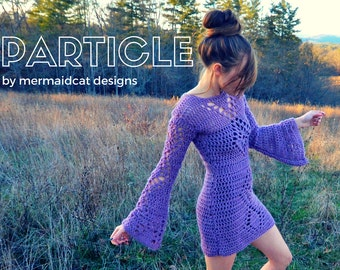 Crochet pattern: dress with bell sleeves -Particle