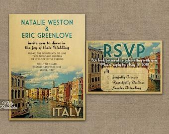 Italy Wedding Invitation - Printable Vintage Venice Italian Wedding Invites - Italia Retro Wedding Invitation Suite or Solo VTW