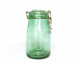 French canning jar ideal old green glass - storage vintage country kitchen rustic bathroom décor