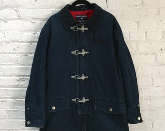 vintage 90s Ralph Lauren denim railroad jacket / workwear denim jacket / deep blue work wear chore coat
