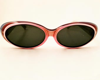 French Vintage Sunglasses 70s Eyewear Pink Purple Blue Frame made in France
