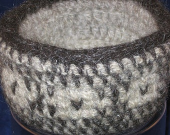 Flower Patterned Crocheted Basket from Handspun Wool and Mohair