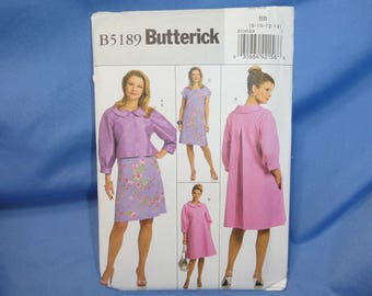 Butterick Sewing Pattern 5189, Jacket, Dress, 8 - 10 - 12 - 14