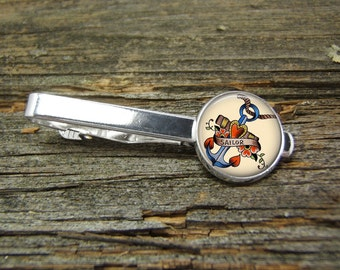 Anchor Tattoo Nautical 2 Tie Clip-Silver-Gift Box-USA-Wedding-Keepsake-Man Gift-Groom-Groomsmen-History-Men Gift-Sailing-Sailor-Ocean-Men