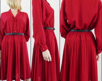 Gerard Pasquiez French red pleated dress cute shirt dress with pleated skirt size medium