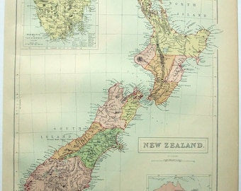 New Zealand - Original 1876 Map by A & C Black. Antique Map. Oceania