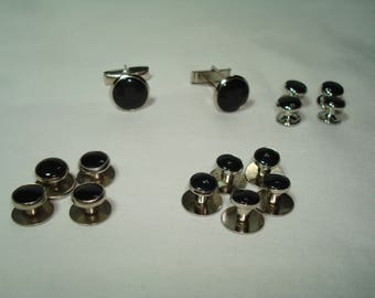 Vintage Black and Silver Tone Cufflinks and Shirt Studs .