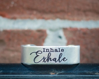 Inhale Exhale Engraved Bracelet Cuff