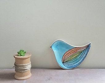 Small bird shape plate, blue bird tray, bird decor