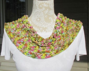 A hand knit cowl, infinity scarf, cowl scarf, single loop scarf, all season cowl, lightweight cowl, fashion cowl, pastel colored cowl