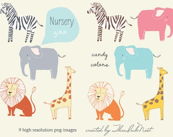 CLIP ART - Nursery Zoo - for commercial and personal use