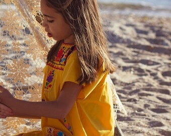 Vintage 70s Girl's MEXICAN Dress EMBROIDERED Yellow Dress BOHO Kid's Dress Cotton Tent Dress