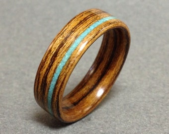 Bentwood Ring, Bocote with Turquoise Inlay, Men's Wood Ring, Women's Wood Ring