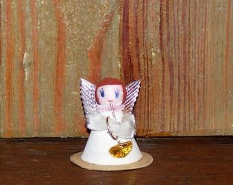 Vintage Spun Cotton Head Glitter Mache Angel with Chenille Trim