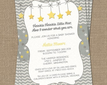 Twinkle, Twinkle Little Star baby shower invite, yellow and gray, how i wonder what you are, Gender Neutral digital, printable file