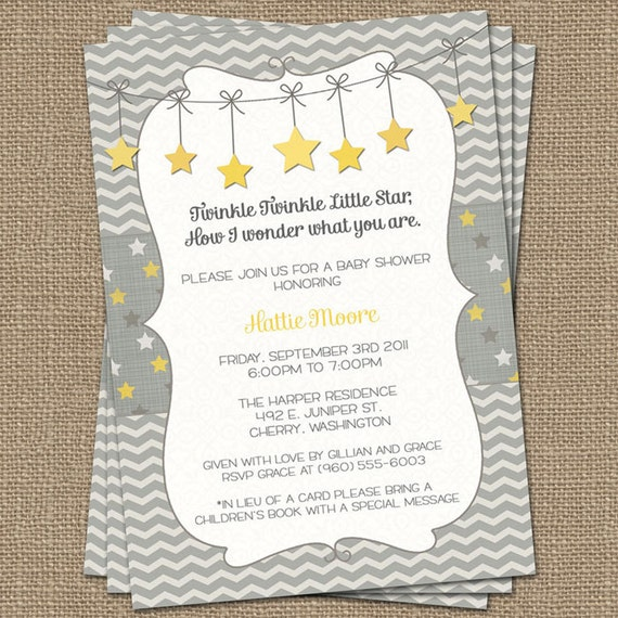 Twinkle Twinkle Little Star baby shower invite yellow and