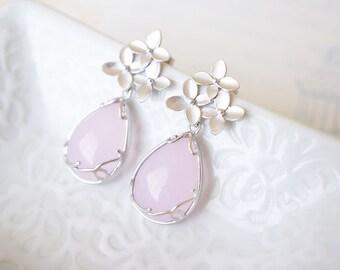 Earrings, Silver Earrings, Pink Earrings, Flower Earrings, Post Earrings, Dangle Earrings, Drop Earrings, Handmade Earrings, Rose Quartz