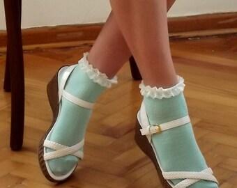 Mint Lace Socks, Happy Feet, Super Lighweight Womens Girls Socks