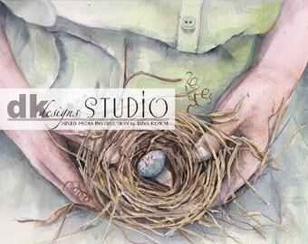 Kept - bird nest- giclee print