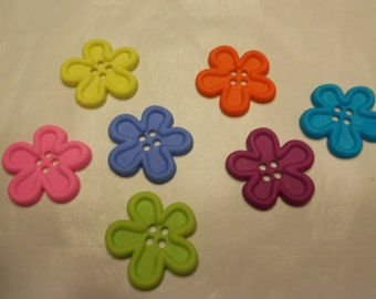 7 bright color flower buttons, 21 mm (31)