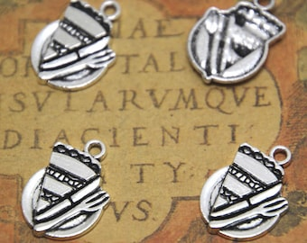 20pcs Piece of Pie on Plate charms silver tone Fork charm pendants 21x14mm ASD1743