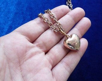 Vintage gold heart pendant 14K gold plating Gold heart chain with heart pendant from SNO of Sweden jewelry Collection jewelry from Europe