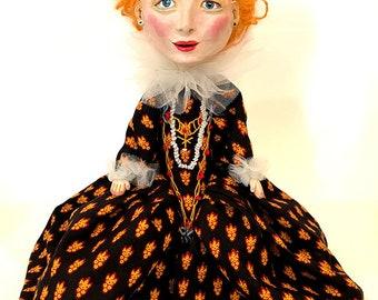Queen Elizabeth I handmade doll - OOAK art doll