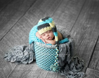 Elf Hat in Aqua, Pale Yellow, and Charcoal with Braided Tail