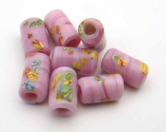 8 pcs vintage large hole beads, pink glass lampwork Japanese with multicolor murrine 14mm