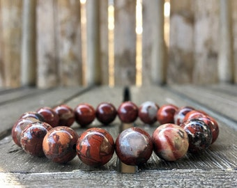 10mm Breccicated Red Jasper Stretch Bracelet