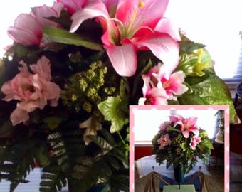 Etsy Mother's Day Pink Lily Mixed Flower Bouquet Memorial Vase on Etsy   Door Wreaths By Trina