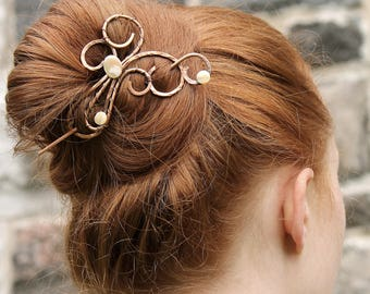 Mother of Pearl Hair Accessory, Copper Hair Barrette, Hair Clip Pin, Copper Shell Jewelry, Copper Jewelry, Birthday Gift for Mom