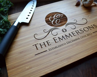 "Personalized Cutting Board Engraved Bamboo ""Family Name Monogram"" for Wedding, Anniversary, Christmas gift"