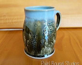 Hand Thrown Ohmu & Teto Nausicaa Themed Ceramic Mug - 10 oz