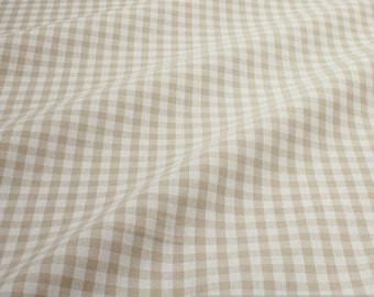 Fabric pure cotton gingham beige white 1 cm x 1 cm Vichy