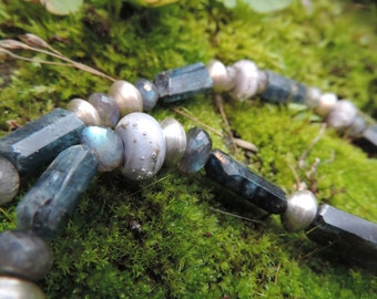 Kyanite Necklace with SRA Glassbeads