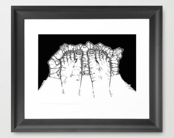 Black and white illustration. Keep you feets on the groung.