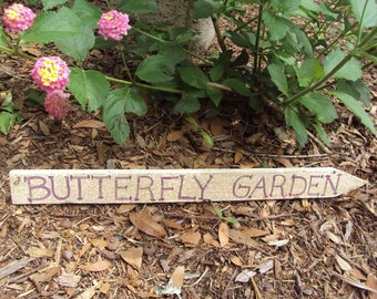 Primitive Butterfly Garden Sign-Picket Fence Sign Cottage Chic Sale- Upcycled Picket Fence Garden Decoration, Lavender