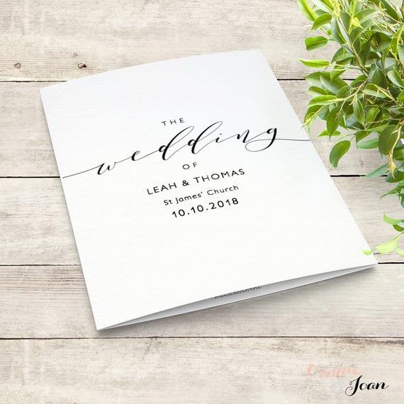 "Romantic wedding program template, folded order of service. Printable wedding program, front, back, inside, ""Wedding"" Edit in WORD or PAGES"
